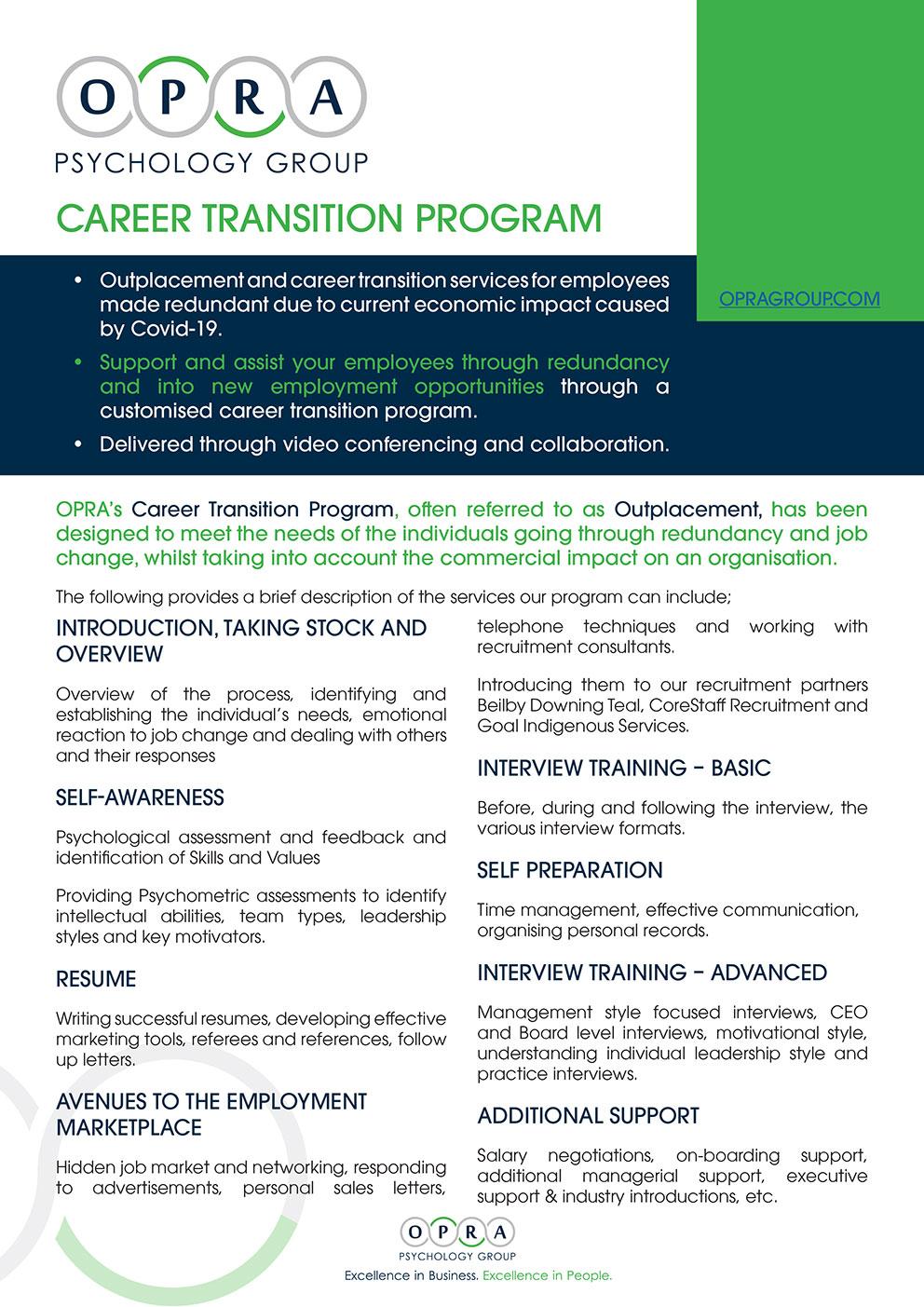 OPRA Career Transition Program