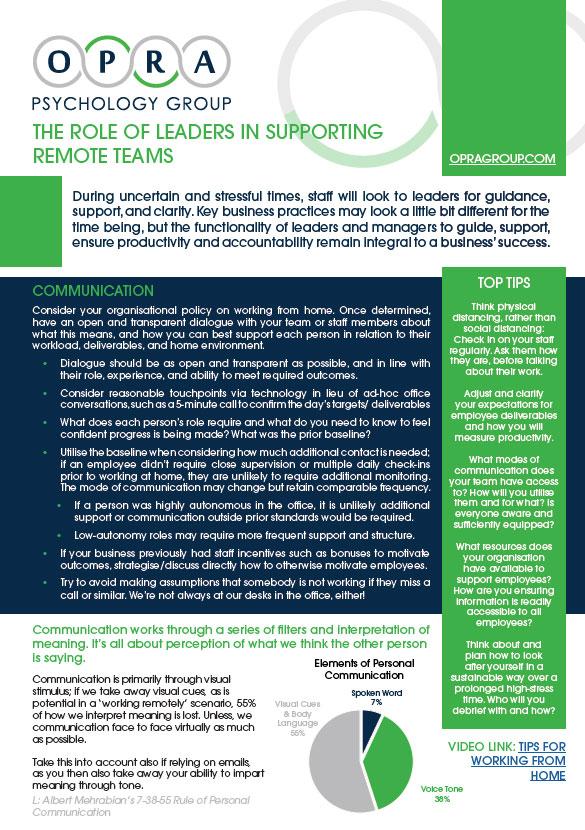 OPRA, Leaders Supporting Remote Teams
